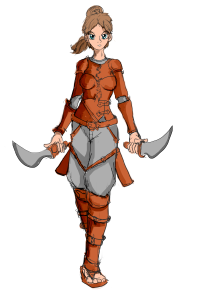 Human female rogue with two daggers