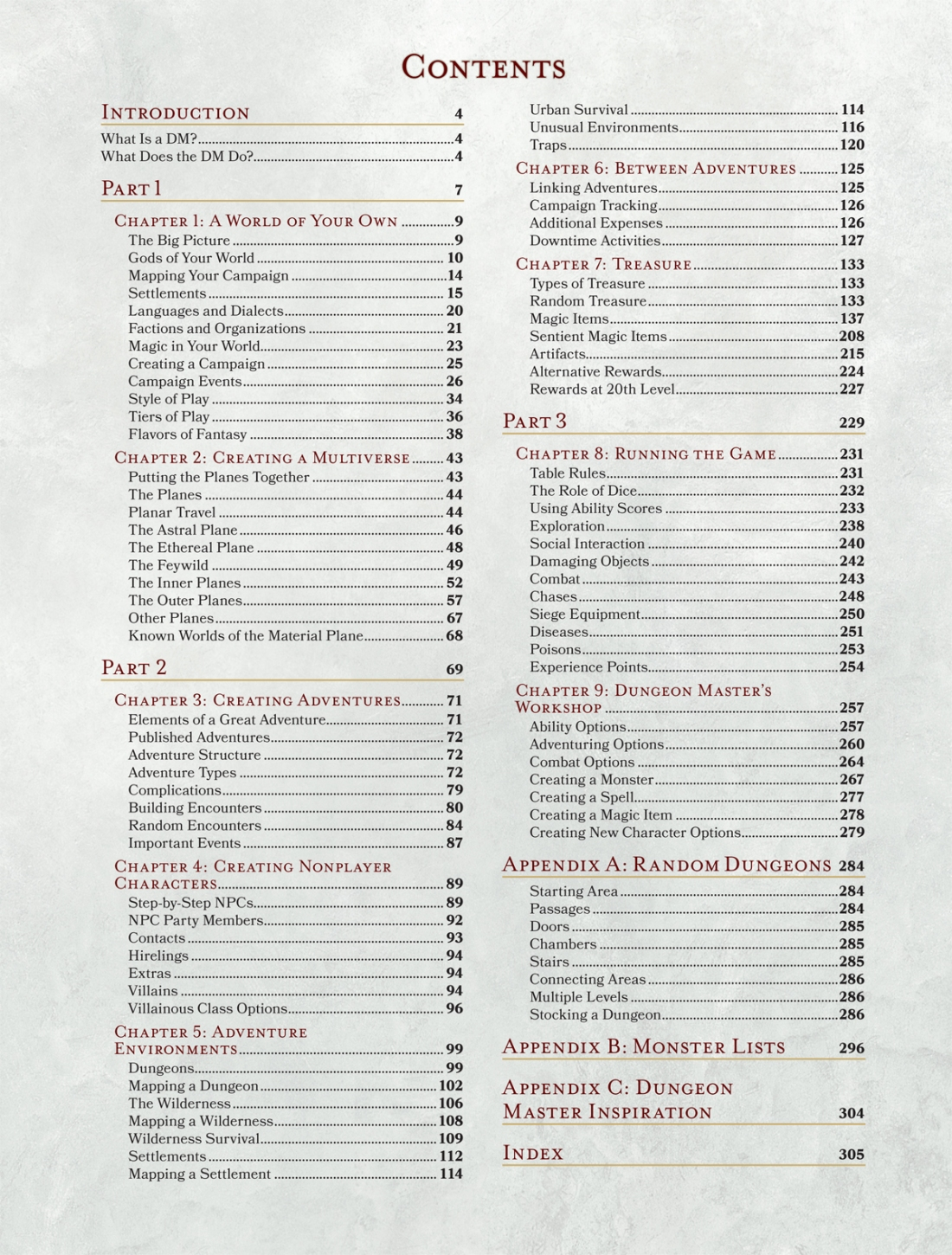 Dungeon Masters Guide Table of Contents