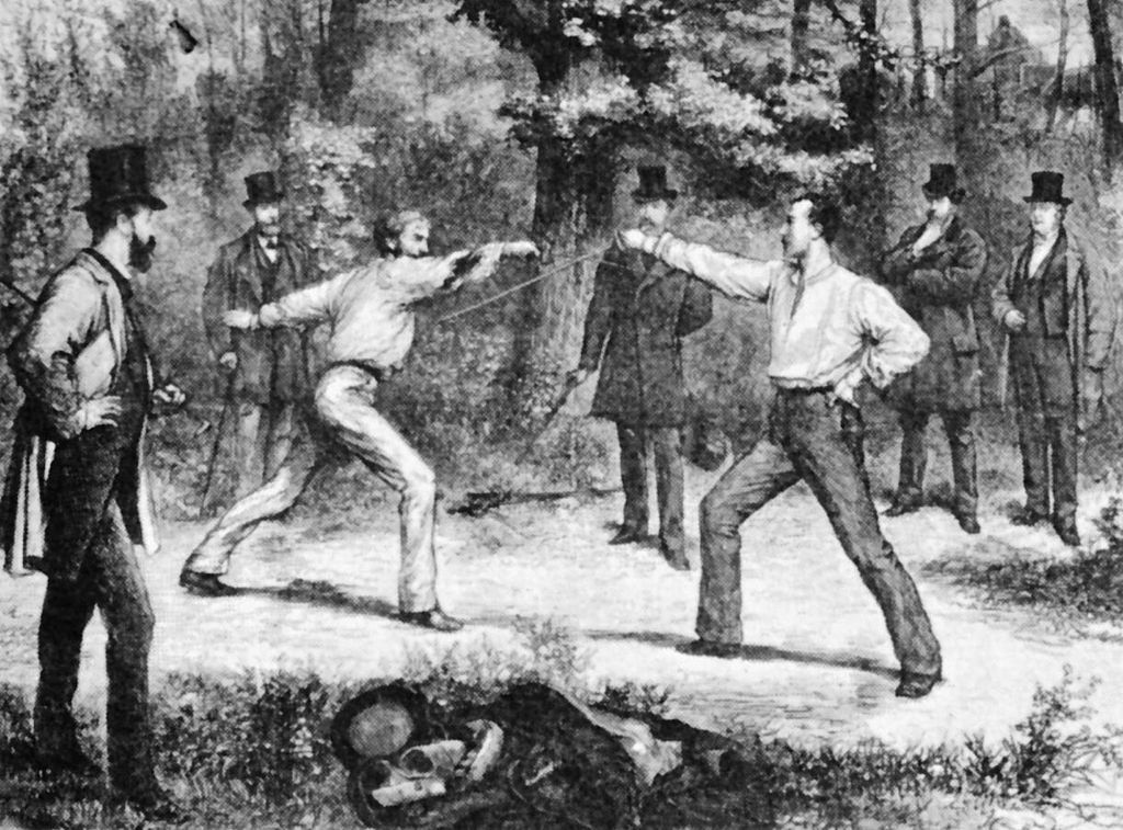 """The Code Of Honor--A Duel In The Bois De Boulogne, Near Paris"" by G. Durand"