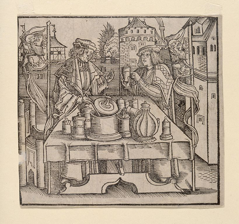 An apothecary publically preparing the drug theriac, under the supervision of a physician. Woodcut.