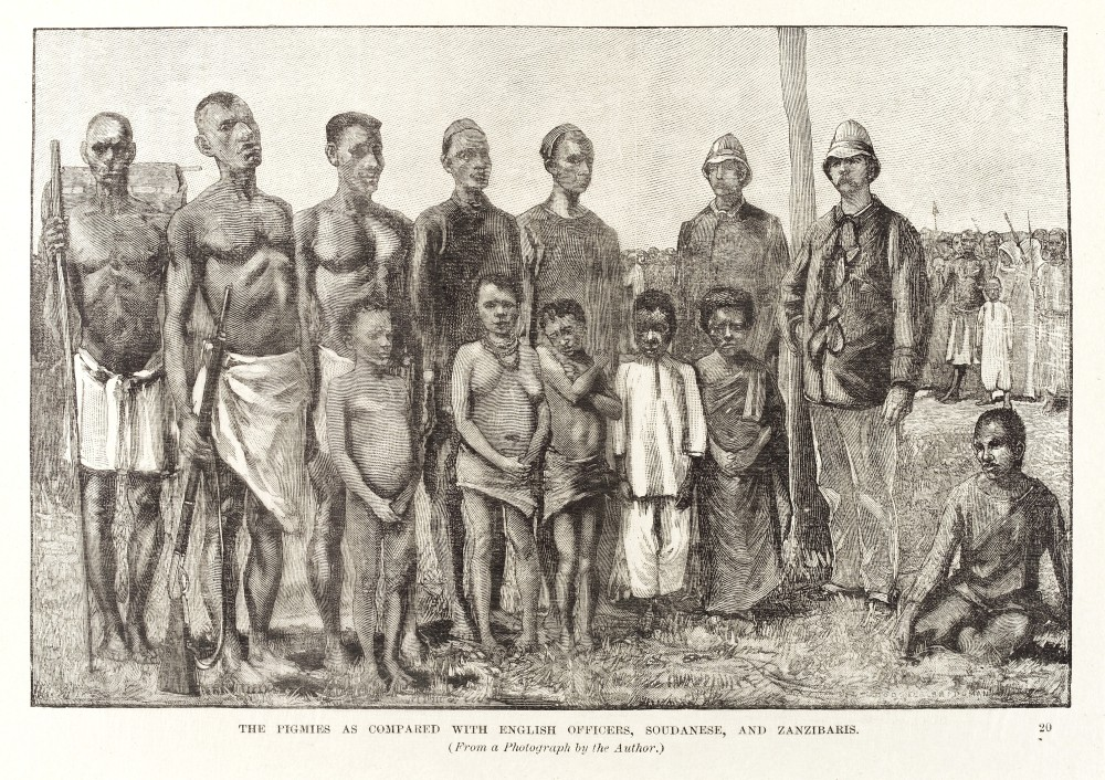 The Pigmies as compared with English Officers, Soudanese, and Zanzibaris