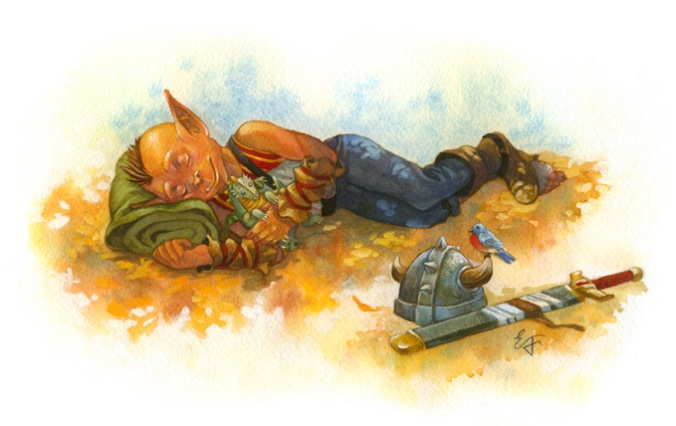 A sleeping goblin adventurer