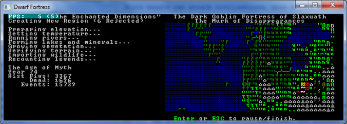 Dwarf Fortress World Generation Screen