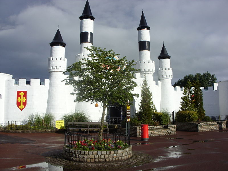 The entrance to the castle, main square, Camelot Theme Park