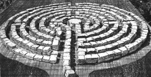 Labyrinth 28, etching, aquatint, soft-ground etching, mm.180x330, Engraved and designed by Toni Pecoraro 2007.