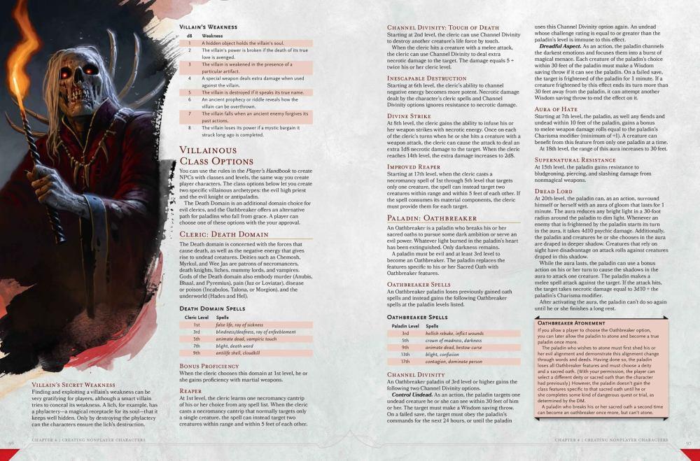 Villainous class options from the DMG preview