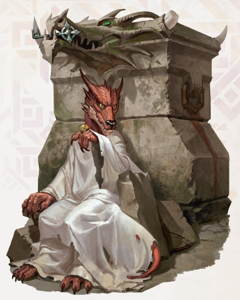 Yusdrayl the kobold prophetess in front of their dragon altar