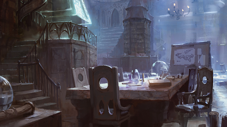 The marble table at the center was normally covered with Jace's neatly squared stacks of notes. He'd moved that into a private office; the library had become a common room because the table was the only one in the house large enough to accommodate them all... Today the table held only a pitcher of water and six glasses.