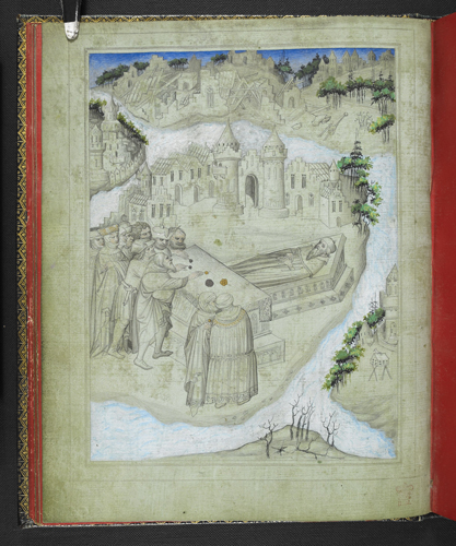 Miniature of the tomb of Aristotle on an island, in front of the town of Stagira, with pilgrims making offerings on an altar in the foreground. In the background is a ruined city, representing Troy.