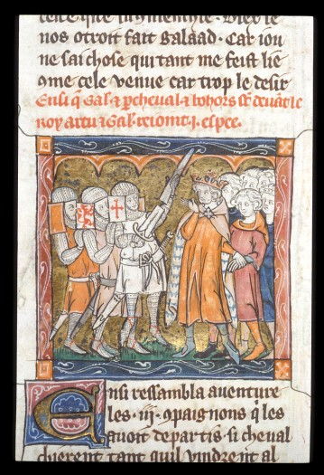 Miniature of Galahad with Perceval and Bors before King Arthur, joining the halves of the broken sword.