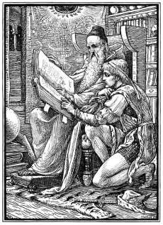 An old man sitting in an armchair holds a large book from which he reads with a younger man kneeling at his side.