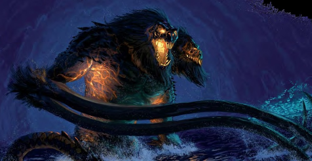 Demogorgon thrashing water in the Underdark