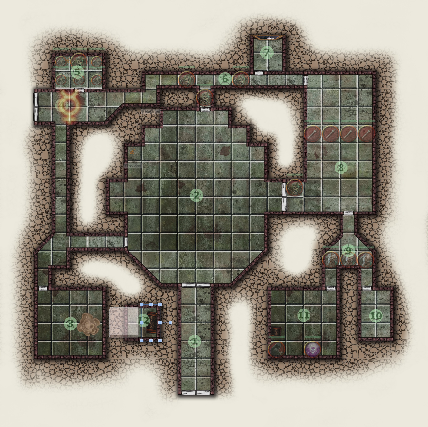 Dungeon with minimal stocking, including monsters, traps, and treasure