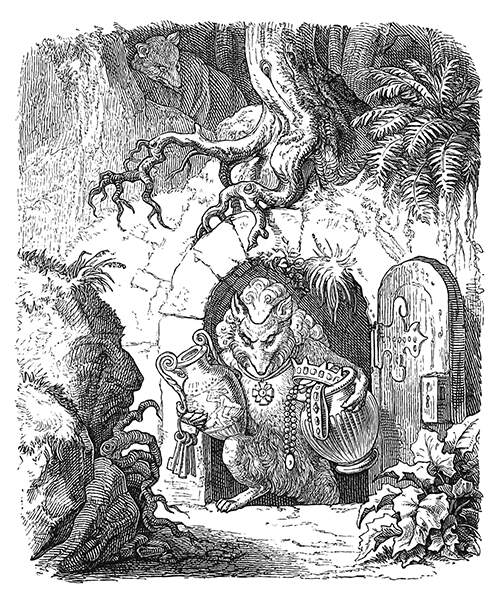 A fox spies on another who comes out of an arched door opening beneath a tree with two vases in his arms, one of which is filled jewels.  The caption reads in the original German: Meine Sorge ging nun dahin, den Ort zu entdecken, Wo der Schatz sich befände, damit ich ihn heimlich entführte.