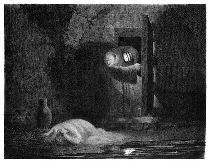 "A tough-looking monk with a lantern in his hand stands at the door of a damp and dark dungeon and talks acrimoniously to a female prisoner miserably slumped on the floor.  This lithograph illustrates a passage of Victor Hugo's The Hunchback of Notre-Dame.  The caption reads in the original French: ""Je te dis qu'il est mort !"""