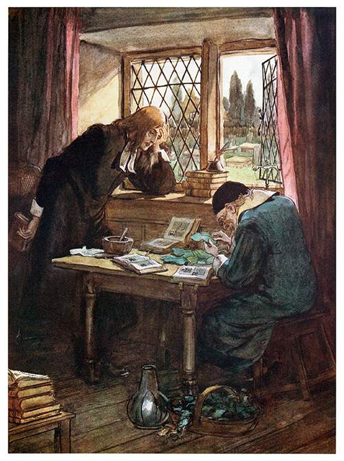 An old man is sitting at a table, carefully examining plant leaves while surrounded by botany books, as a pastor in a cassock stands at the other end, leaning on his hand by the leaded window.