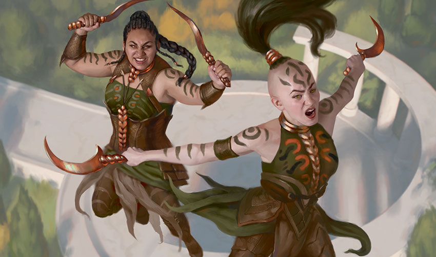 Two female warriors attack with curved daggers. (c) 2018 Wizards of the Coast.