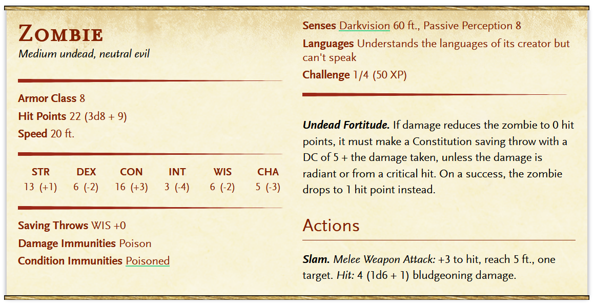 Image capture of the D&D 5e zombie stat block