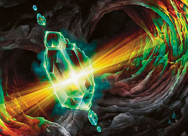 A magical gem refracting power and light inside a rocky tunnel. (c) 2009 Wizards of the Coast.