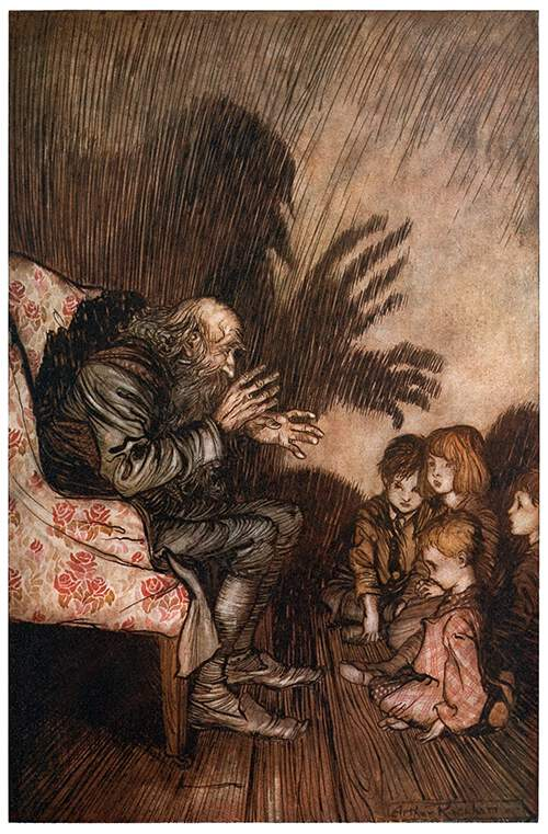 """An old man is seen in profile sitting in an armchair and telling stories to an audience of four children as his fantastic shadow is projected on the back wall of the room."" From ""Rip Van Winkle"" by Washington Irving, published in 1919."