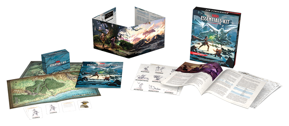 A marketing shot of the contents of the Essentials Kit. (c) 2019 Wizards of the Coast.