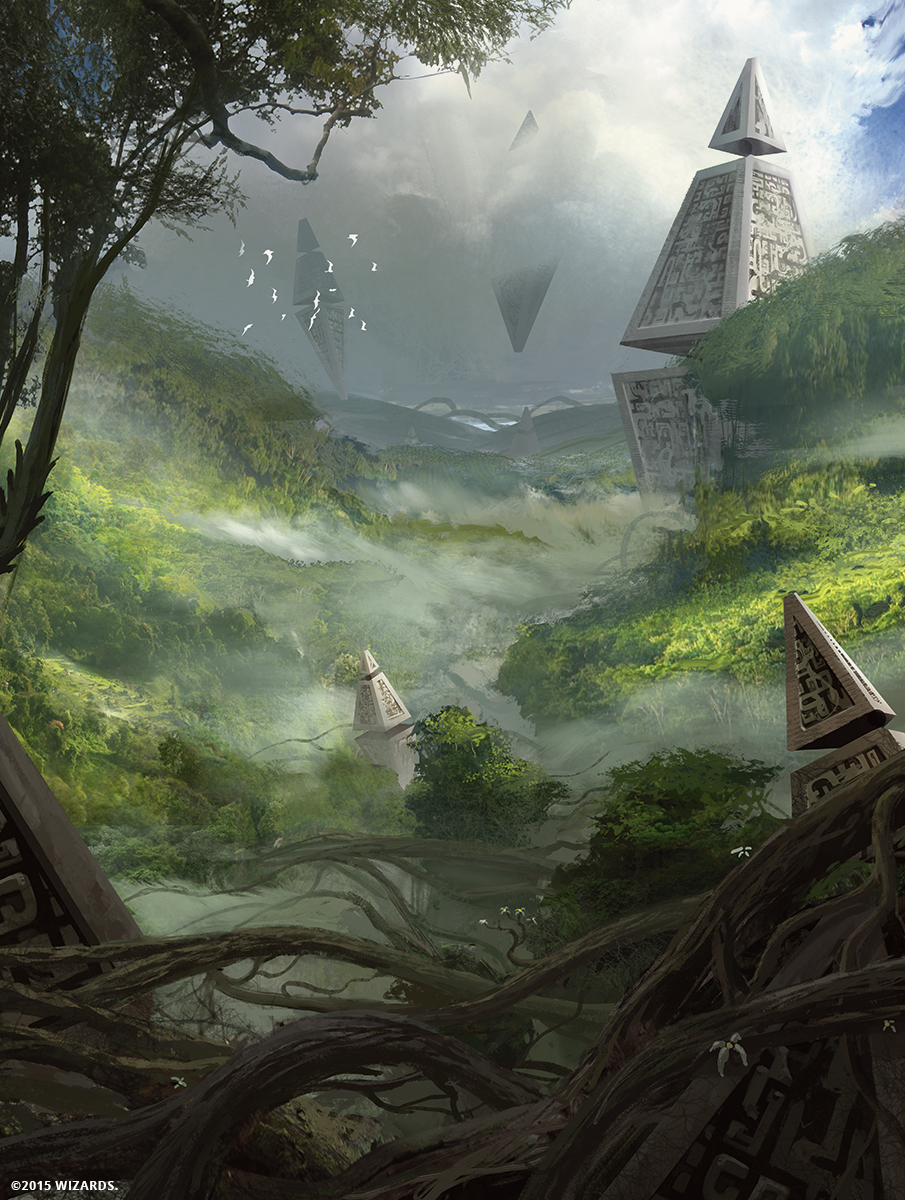 A jungle stretches out with floating technological hedrons embedded within it. (c) 2015 Wizards of the Coast