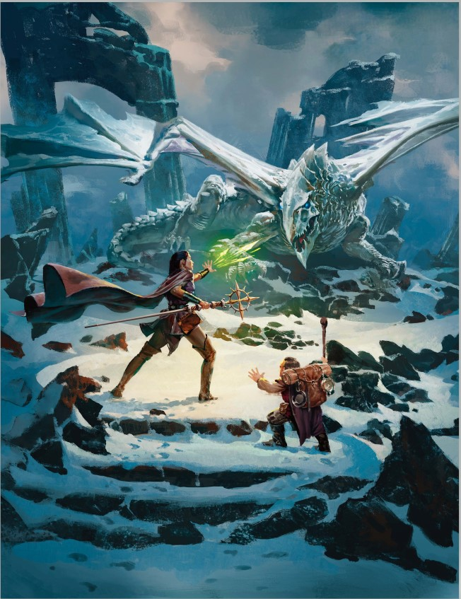 Two adventurers face off against a white dragon. (c) 2019 Wizards of the Coast.