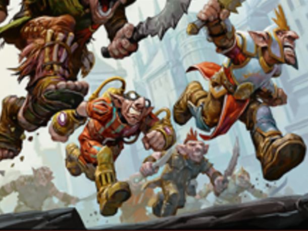 Goblins from several different Ravnica guilds work together to defeat a common foe. (c) 2019, Wizards of the Coast.