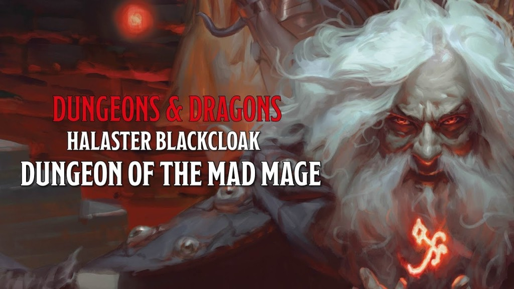 "Portrait of Halaster Blackcloak with lettering saying, ""Dungeons & Dragons / Halaster Blackcloak / Dungeon of the Mad Mage"""