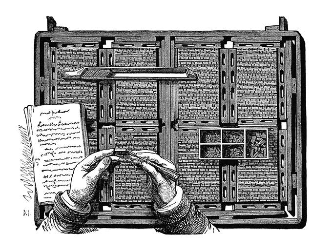 """A multipage form in an 19th century typeset printing press is being corrected by a compositor using tweezers. From """"Les grandes usines, vol. 1"""", 1875."""