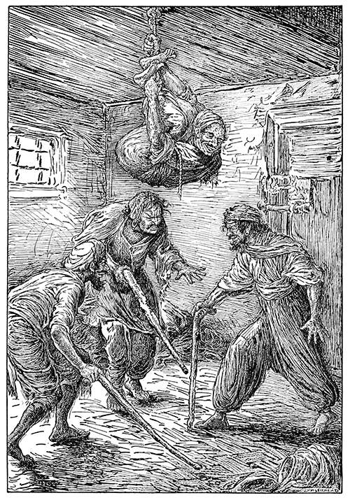 Three men forming an approximate triangle poke around with their sticks, trying to locate the fourth one who is hanging from the ceiling on a rope, smirking.  Art by Louis Rhead, c. 1916.