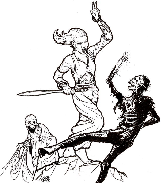 An elf defeats two undead in combat.