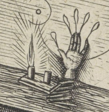 """Detail from """"Jacob meets magician Hermogenes"""" showing a hand of glory"""