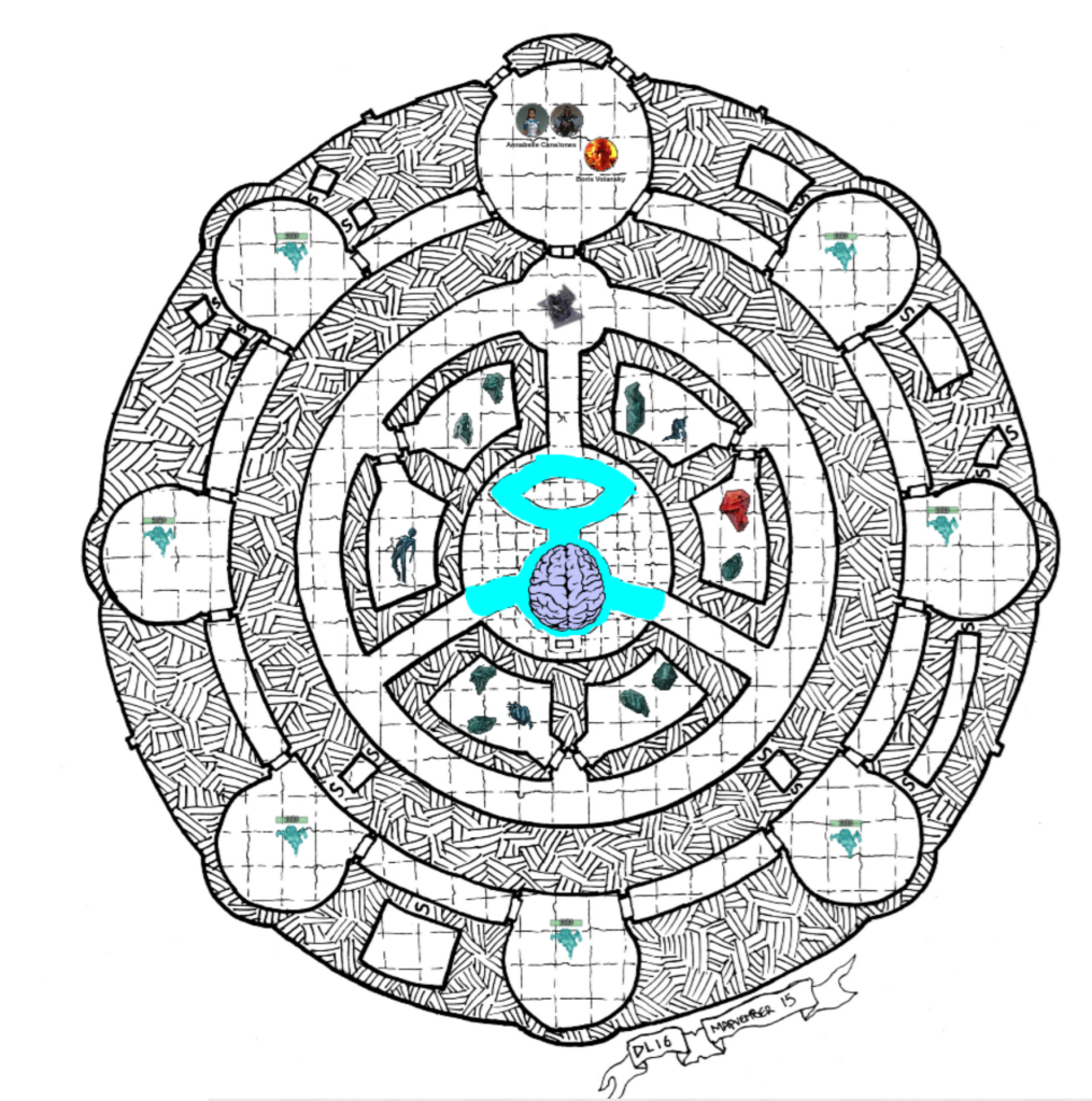 "Map of an ""Elder Brain Portal"" with overlaid tokens for monsters and dangers"