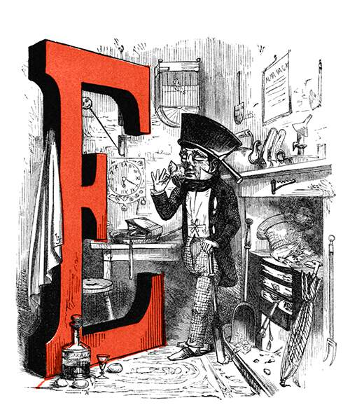 The letter E is illustrated with a man who wears a saucepan as a hat and smells a flower while his hat burns in the fireplace, a book is in the frying pan, and the clock hangs upside down on the wall.