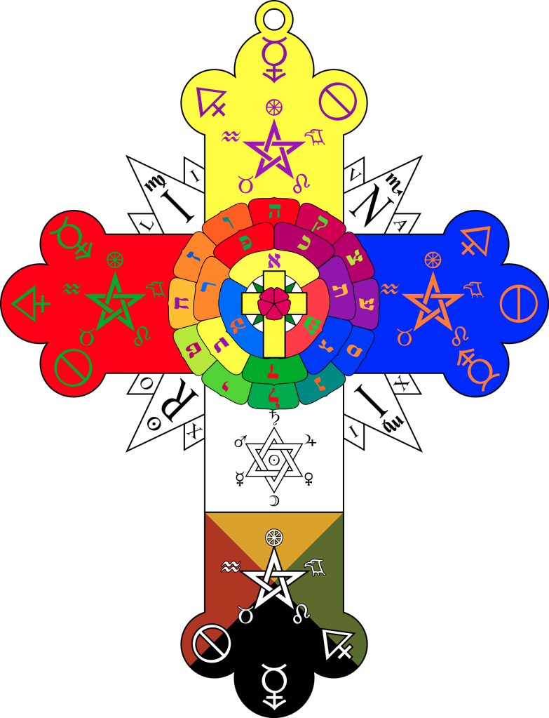 The Rosy Cross Lamen as worn by Adepts in the Rosae Rubae et Aureae Crucis, the inner order of the Hermetic Order of the Golden Dawn.