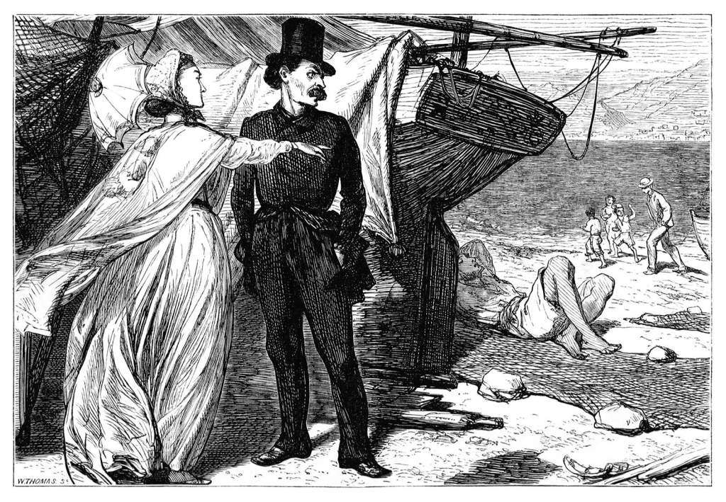 A woman and a man are having a conversation face to face near a boat sitting on the sand as she points her finger toward someone further down on the beach.