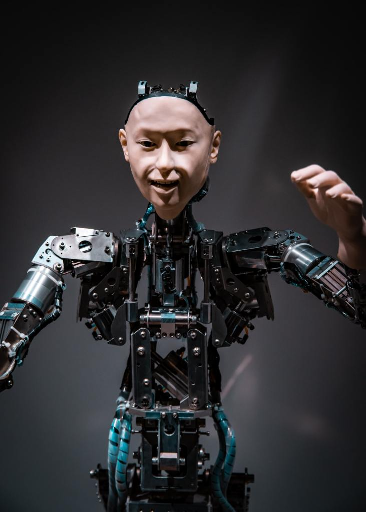 The humanoid android robot Alter recreates human movements at the Mirakian museum in Tokyo