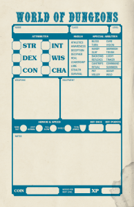 World of Dungeons character sheet by John Harper
